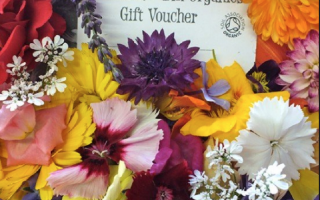 Organic edible flowers voucher.
